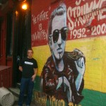 Me at the Joe Strummer memorial wall - Greenwich Village, New York June 2008