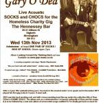 Gary O'Dea live poster for SocksnChocs gig Nov 13th Brum pub