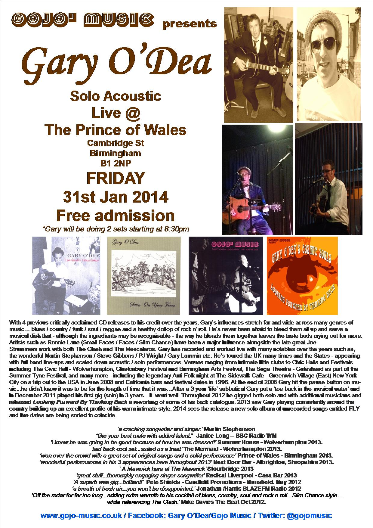 First Gig Of 2014 The Prince Of Wales B Ham Fri