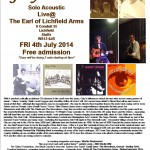 Gary O'Dea live poster for Earl of Lichfield Arms - Lichfield - Fri 4th July 2014