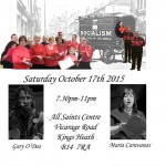 Poster for gig with Clarion singers Oct 2015