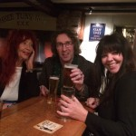 Kate Lane, yours truly and Lana Lane, Three Tuns, Bishops Castle, 24-1-16