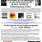 Gary O'Dea live poster for The Wellington - Songwriter Sessions with John Jenkins - Birmingham Sun 11-2-2018